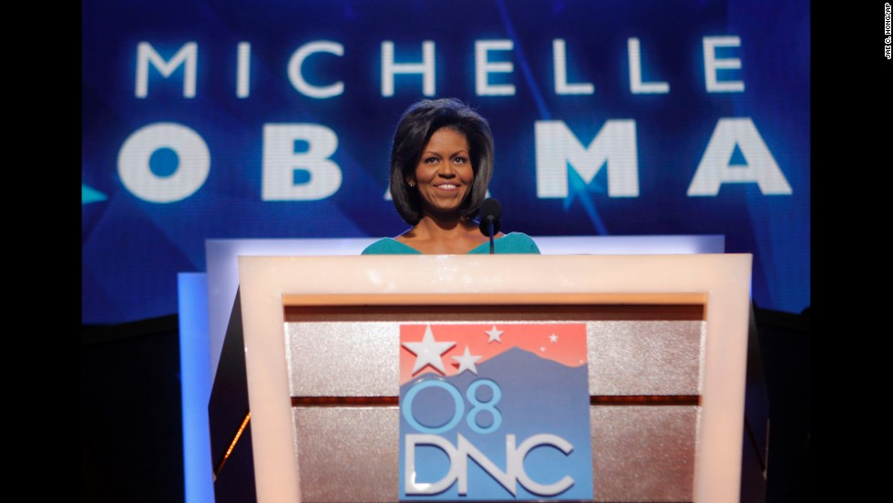 Michelle Obama speaks during the Democratic National Convention on August 25, 2008.