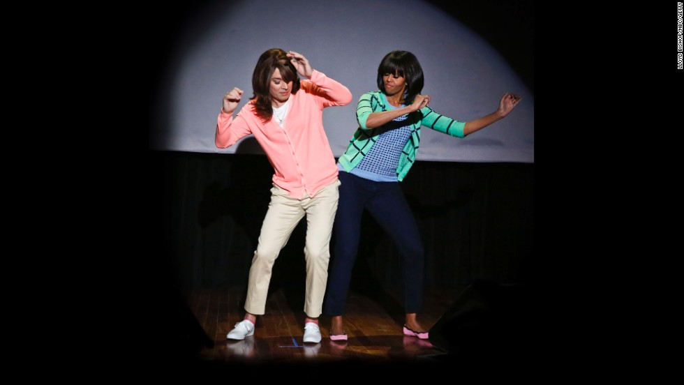 Michelle Obama dances with Jimmy Fallon on Fallon's late-night show in February.