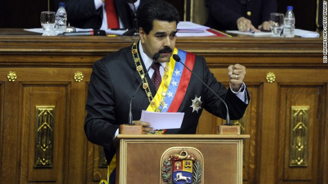 Venezuelan President Nicolas Maduro delivers a speech in Caracas on January 15, 2014. Maduro presented a report of his administration. AFP PHOTO/Leo Ramirez (Photo credit should read LEO RAMIREZ/AFP/Getty Images)