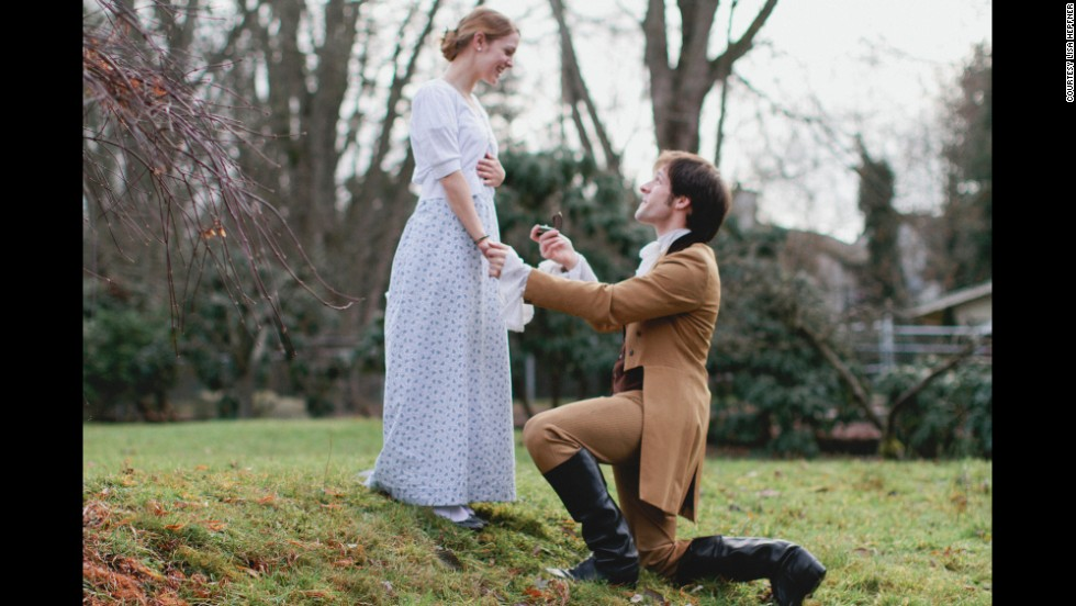 """And finally it was time for the proposal scene! Slater took Albert to a small field in the neighbor's back yard. """"It was only at that moment that he left his character and proposed to me,"""" Albert said. """"It was so nice because even though my whole family was involved, it was private and personal in that moment."""""""