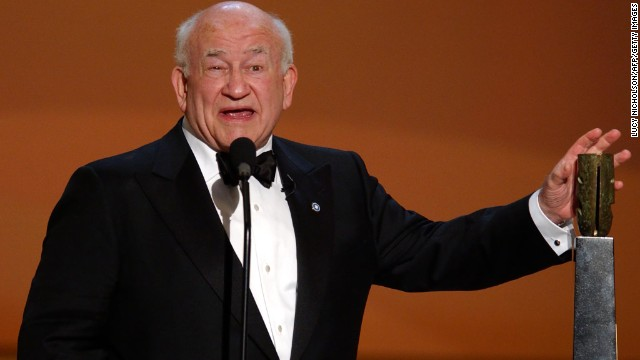 US actor Ed Asner accepts the Life Achievement Award at the 8th Annual Screen Actors Guild Awards in Los Angeles, CA in 2002.