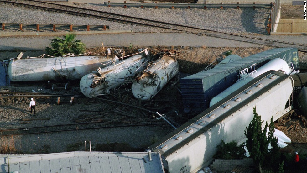A 64-car freight train carrying hazardous materials was derailed between the Chatsworth and Northridge sections of the San Fernando Valley, about 30 miles north of downtown Los Angeles.