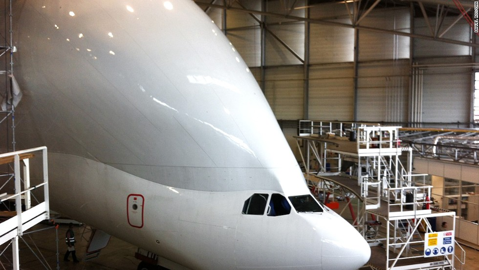 Designing the Beluga wasn't easy. The top section of an Airbus A300-600 was cut off. A wider fuselage section was added, giving the plane its characteristic hump. The cockpit was lowered, allowing cargo to be loaded through the front of the aircraft.