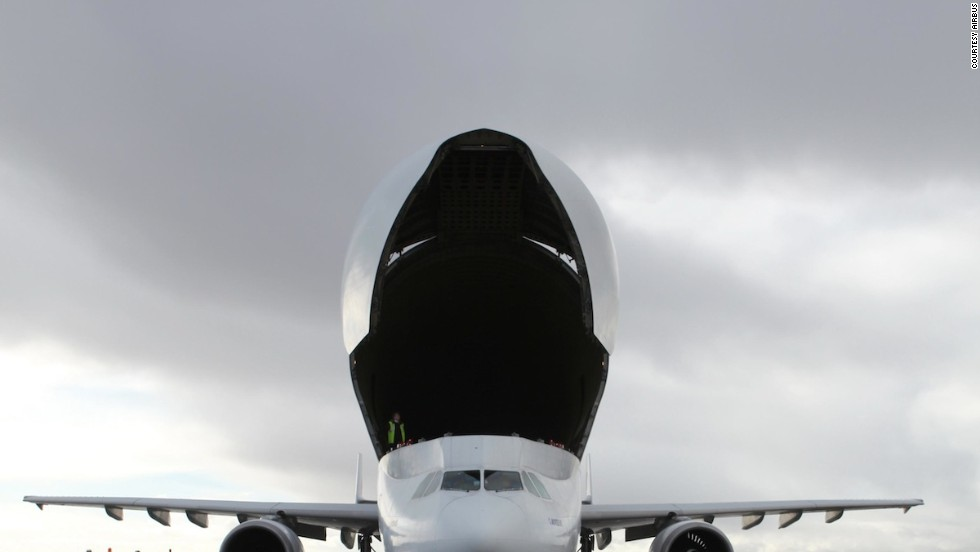 """The Beluga's jet speed and efficiency allows """"for short transport times to meet strict production schedules,"""" says Airbus. """"A semi-automated main deck cargo loading system ensures easy and efficient handling of aircraft components."""""""