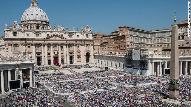Crowd of faithful attend the mass for the 'Evangelium Vitae' Day at St. Peter's Square on June 16, 2013 in Vatican City, Vatican.