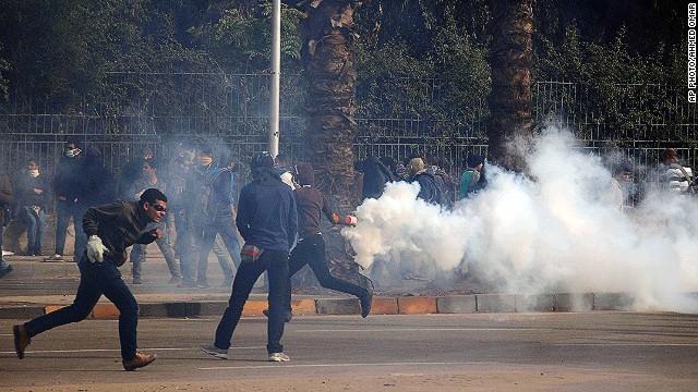 Clashes near Cairo University in Giza, Egypt, on January 16, 2014.