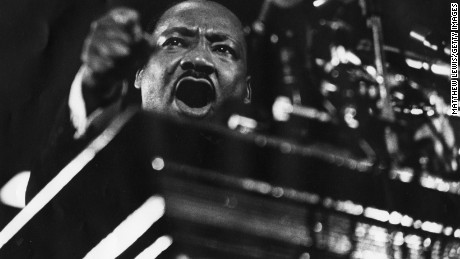 Martin Luther King speaking at Vermont Ave. Baptist Church in Washington, Febuary 1968.