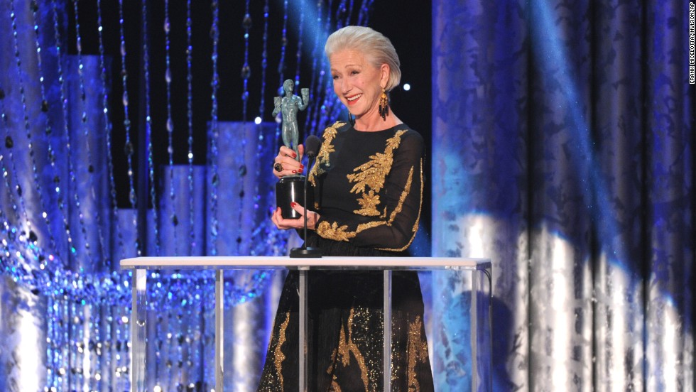"Helen Mirren accepts the award for outstanding performance by a female actor in a television movie or miniseries for her part in ""Phil Spector."""