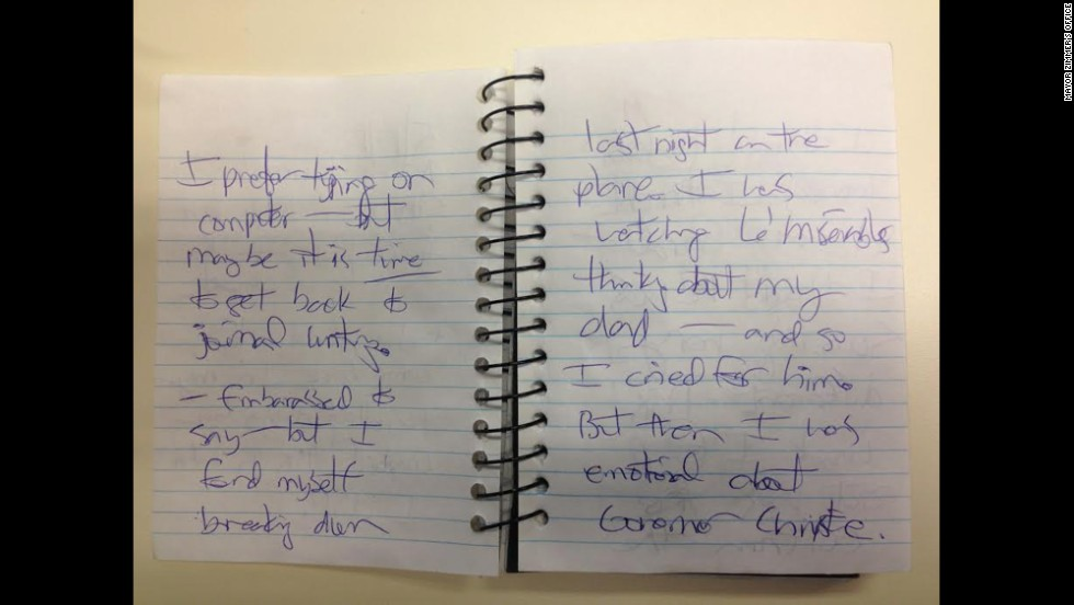"CNN received images of journal entries from Hoboken Mayor Dawn Zimmer's office that Zimmer said she wrote in May 2013. This entry reads, ""I prefer typing on computer -- but maybe it's time to get back to journal writing. Embarrassed to say -- but I found myself breaking down last night on the plane. I was watching Les Miserables thinking about my dad -- and so I cried for him. But then I was emotional about Governor Christie."""