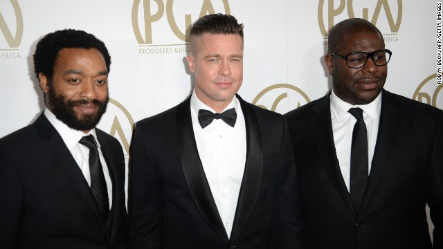 """12 Years A Slave"" actor Chiwetel Ejiofor, from left, with actor/producer Brad Pitt and director/producer Steve McQueen."