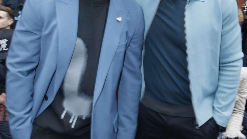Victor Cruz and Will Smith are feeling the blues at Paris Fashion Week on January 20.