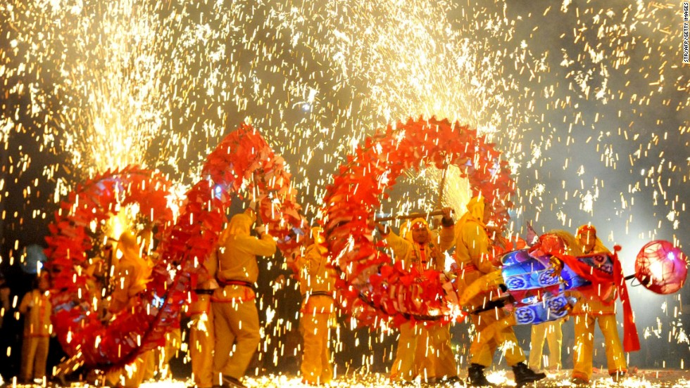 Fireworks are a must for Lunar New Year. Legend says a monster named Nian is easily scared off by loud noises.