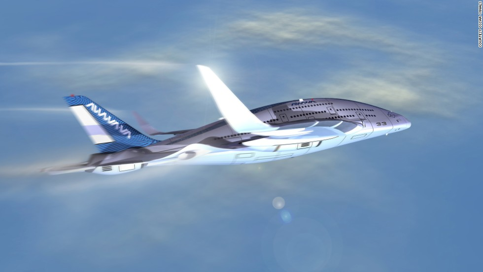 "Sky Whale will have ""active wings"" powered by a hybrid turbo-electric propulsion system, making it more energy-efficient than today's planes. Viñals also says the wings would have ""self-healing skin,"" a technology still in the works."
