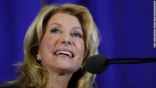 Wendy Davis formally announces her run to be Texas' next governor on October 3, 2013, in Haltom City, Texas.