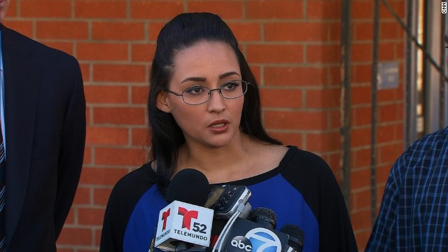 Jamie Carillo, the woman who says a female teachersexually abused her in middle school, speaks to the media after confronting the teacher and posting video of the exchange on YouTube.