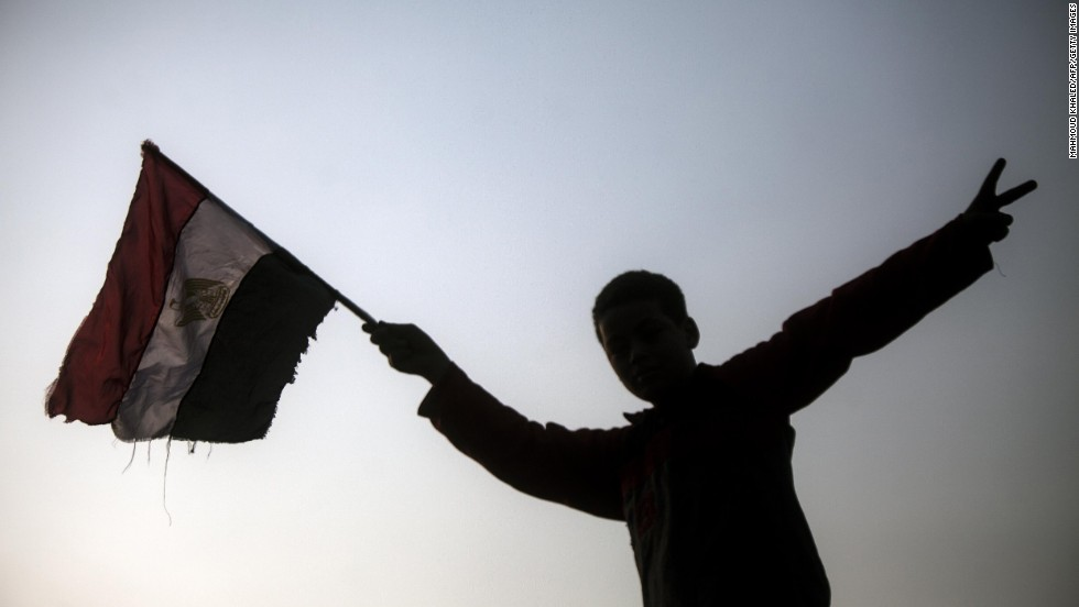 An Egyptian youth holds up his national flag outside a polling station in Cairo on January 14, day one of a two-day vote on a new constitution.