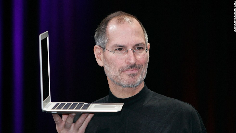 By the mid-2000s, Macs were increasingly laptops instead of desktops. Here Jobs holds up the new MacBook Air after a keynote speech kicking off the 2008 Macworld conference in San Francisco.
