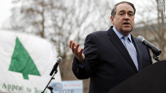 Former Arkansas Gov. Mike Huckabee speaks at an anti-abortion rally in Washington in January 2012.