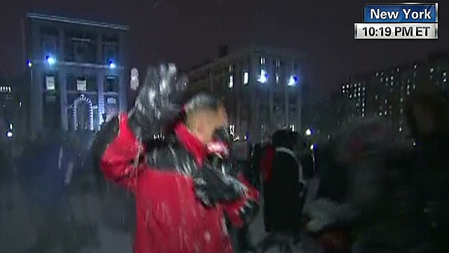 Live report interrupted by snowball fight