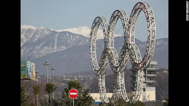 Olympic rings for the 2014 Winter Olympics are installed in the Black Sea resort of Sochi, southern Russia, late Tuesday, Sept. 25, 2012.  With the Winter Olympics a year away, IOC President Jacques Rogge praised Sochi organizers on Wednesday, Feb. 6, 2013, and defended the $51 billion price tag. (AP Photo/Ignat Kozlov))