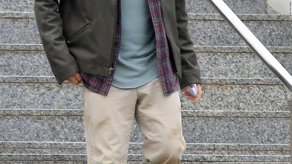 "George Clooney takes a break while filming ""Tomorrowland""  in Valencia, Spain on January 22."