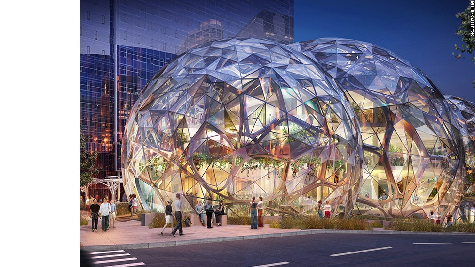 "<a href=""http://www.nbbj.com/work/amazon/"" target=""_blank"">NBBJ</a>, the architecture firm behind Amazon's new Seattle offices, say their goal is to ""build a neighborhood rather than a campus."" Around 1800 employees will eventually work inside three glass orbs, each of which will boast hanging gardens and plenty of sunlight. The community-focused design also calls for a public dog park and retail space."