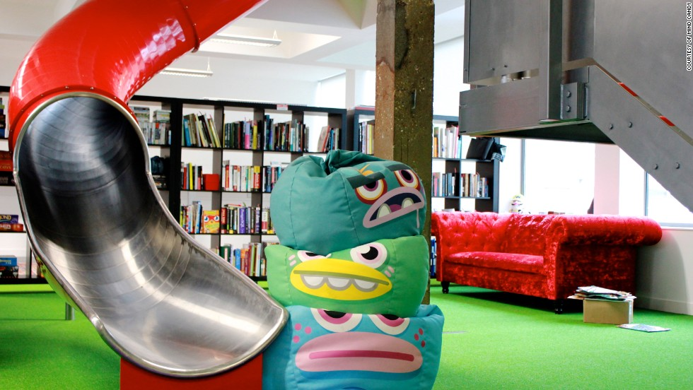 "<a href=""http://mindcandy.com/"" target=""_blank"">Mind Candy</a>, the entertainment company behind the wildly popular Moshi Monsters franchise, has stocked its London headquarters with bean bags, AstroTurf, and a tree house which can be used for meetings. Rather than taking the stairs employees can take this slide."