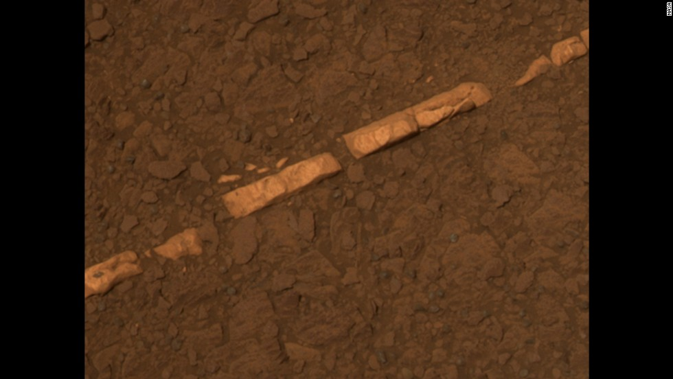 Opportunity found bright veins of a mineral that appeared to be gypsum. The vein shown here is informally called Homestake. The mineral is deposited by water. It and other deposits that look similar are in an area where sulfate-rich and volcanic bedrock meet -- at the rim of Endeavour Crater, where Opportunity is currently located.