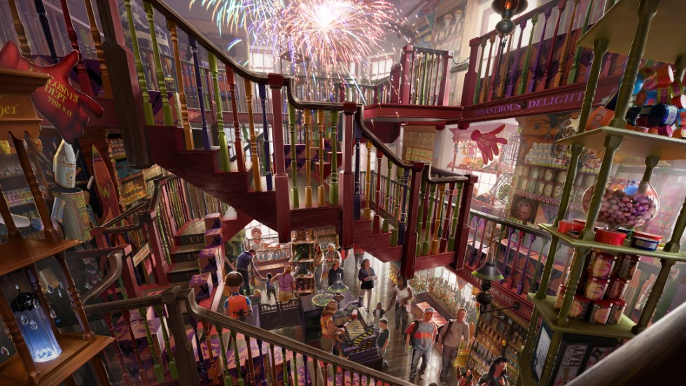 Shops in the new themed area will include Weasleys' Wizard Wheezes for fans of magical jokes and novelties inspired by the mischievous Weasley twins.