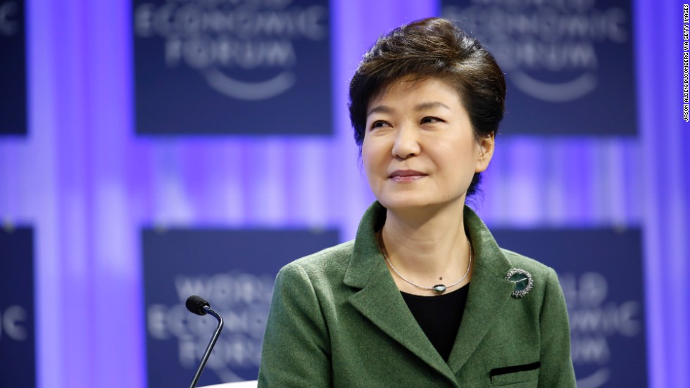 Park Geun Hye, South Korea's president, speaks during the opening day of the World Economic Forum in Davos. She emphasized the region-wide benefits of Korean unification.