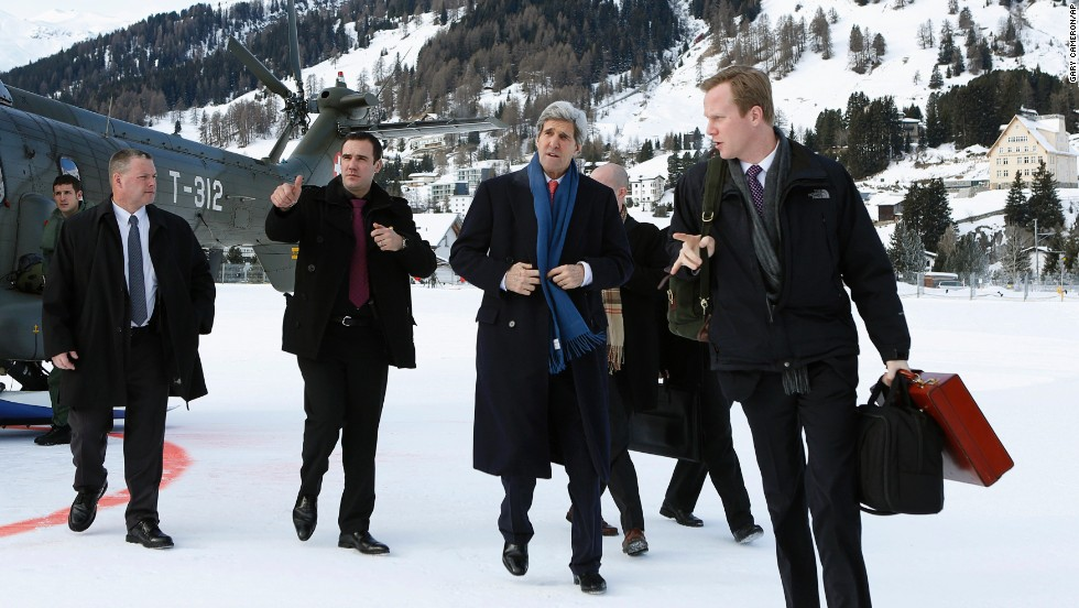 U.S. Secretary of State John Kerry arrives on Thursday, after attending Syria peace talks the day before.