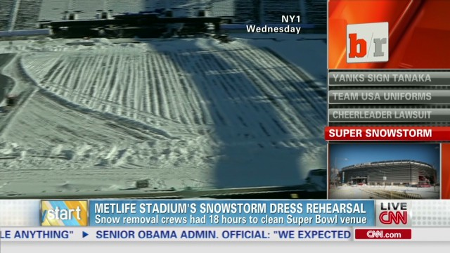 Super Bowl's snow dress rehearsal