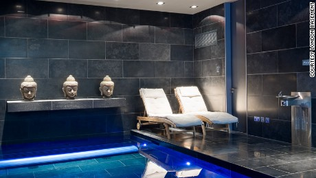 A swimming pool installed in a basement in London.