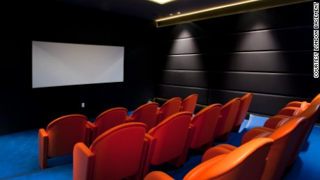 A home cinema in a London basement.