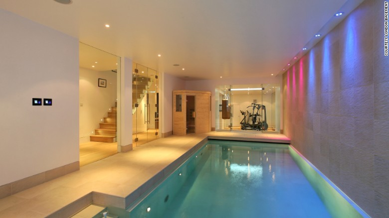 An underground pool and gym area.