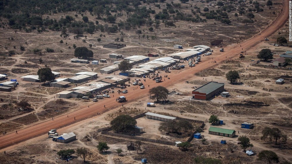 A picture shows an aerial view of a camp of internally displaced people in Minkammen, on Friday, January 10.