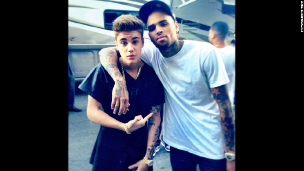 """With their shared love of cars, graffiti and body art, is it any wonder that Chris Brown and Justin Bieber have bonded? After Brown went to rehab for anger management issues, Bieber showed his support by <a href=""""http://www.rap-up.com/2013/10/31/justin-bieber-supports-chris-brown-with-free-breezy-graffiti/"""" target=""""_blank"""">tagging """"Free Breezy""""</a> on a wall in Bogota, Colombia."""