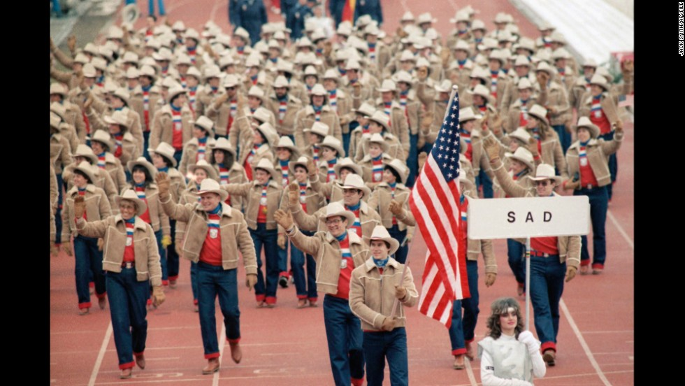 U.S. athletes at the 1984 Winter Olympics in Sarajevo in what was then Yugoslavia. Luger Frank Masley carries the American flag here.
