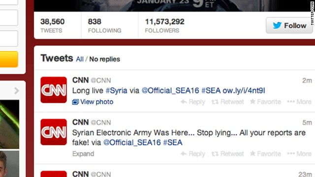 The affected accounts included CNN's main Facebook account, CNN Politics' Facebook account and the Twitter page for CNN, shown here, as well as blogs.