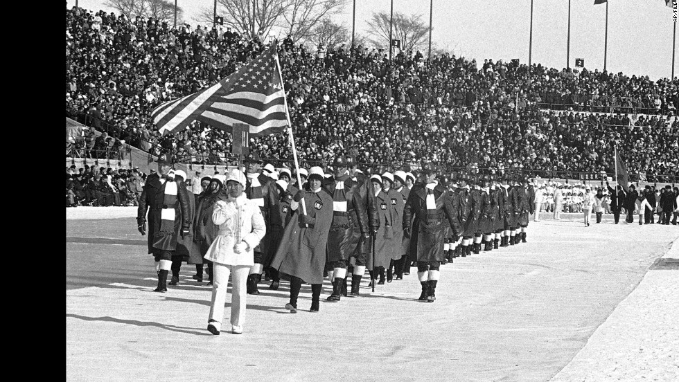 U.S. athletes at the 1972 Winter Olympics in Sapporo, Japan.