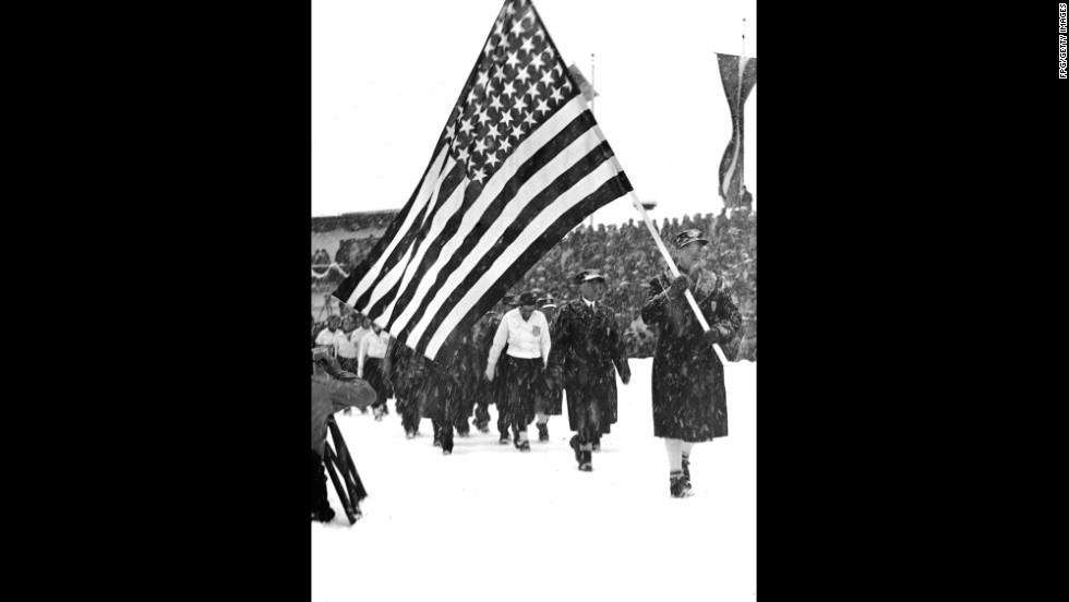 U.S. athletes at the 1936 Olympics in Garmisch-Partenkirchen, Germany.