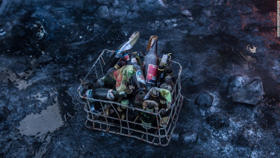 Molotov cocktails sit in a basket ready to be used by protesters in Kiev on January 24.