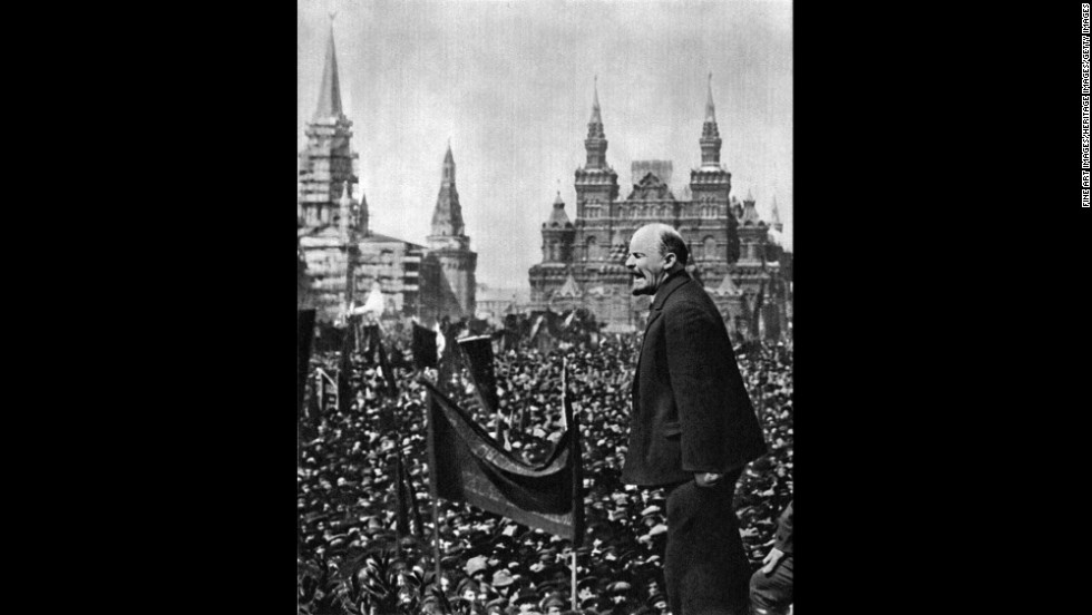 Vladimir Lenin led the revolution that paved the way for Communist rule in Russia until the late 20th century. Here, Lenin speaks in 1919 in Moscow's Red Square to dedicate a monument to Stepan Razin, a 17th century Cossack who revolted against the Russian monarchy.