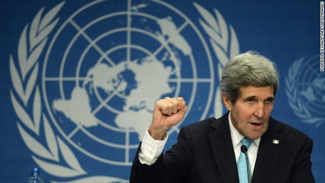 US Secretary of State John Kerry gestures during a press conference closing the so-called Geneva II peace talks dedicated to the ongoing conflict in Syria, on January 22, 2014, in Montreux. Representatives of Syrian President Bashar al-Assad, a deeply divided opposition, world powers and regional bodies started a long-delayed peace conference aimed at bringing an end to a nearly three-year civil war. AFP PHOTO / PHILIPPE DESMAZES (Photo credit should read PHILIPPE DESMAZES/AFP/Getty Images)