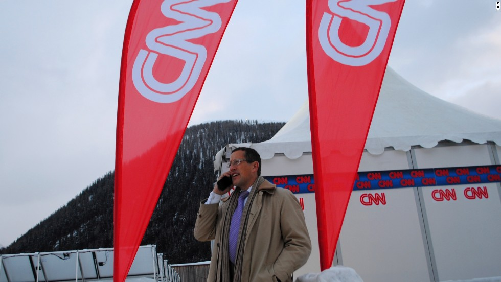 Richard Quest outside CNN's live position in Davos.