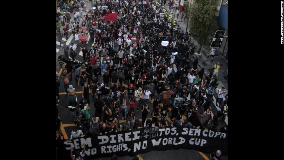 """People take part in the """"Nao Vai Ter Copa"""" (""""You are not going to have the Cup"""") protest along Avenue Paulista in Sao Paulo."""