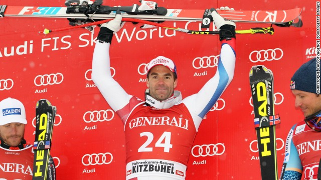 Switzerland's Didier Defago celebrates after winning the men's World Cup Super-G in Kitzbuehel, Austria on Sunday.