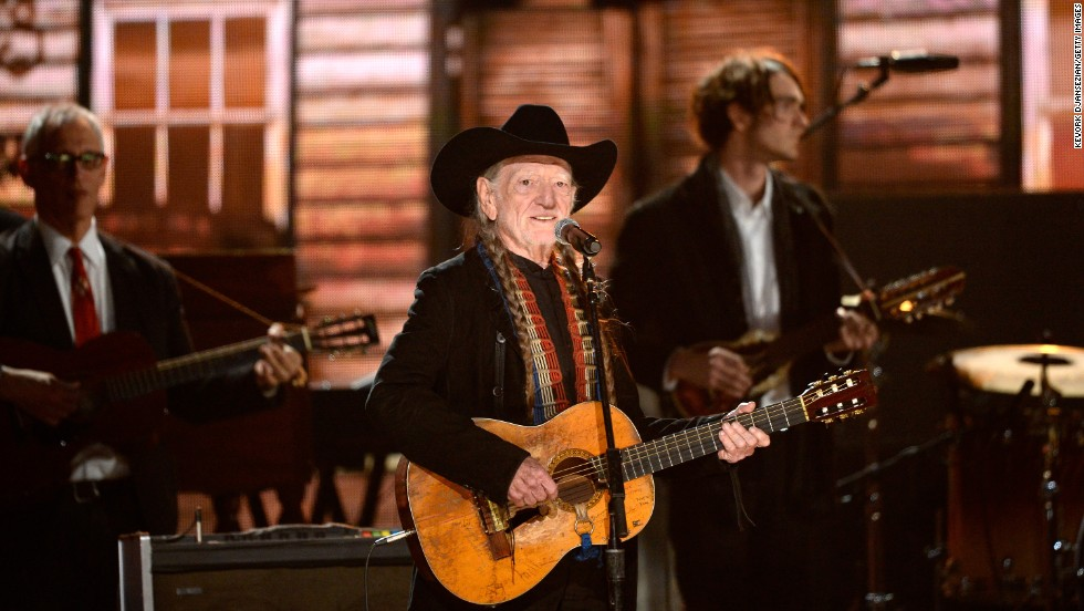 Country legend Willie Nelson takes the stage. He was joined by Kris Kristofferson, Blake Shelton and Merle Haggard.
