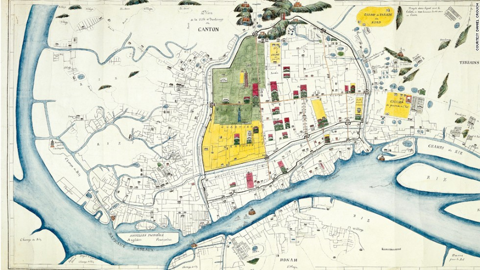 This detailed manuscript plan of Canton (Guangzhou) depicts the city at the end of the Second Opium War. Shown beyond the city walls to the right are parade grounds, numerous hospices and a leper colony.