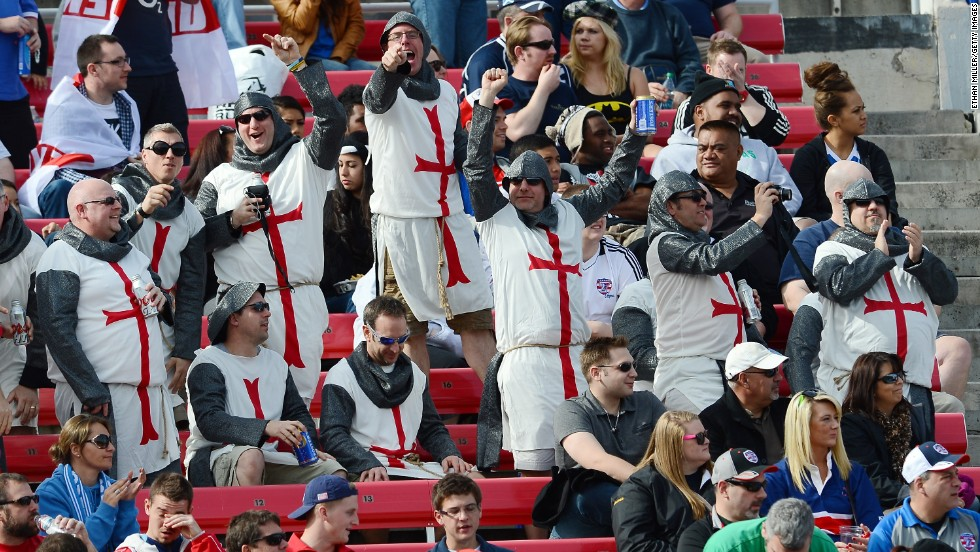 Rugby fans often favour fancy dress to show support for their team. Here England fans sport a knightly look for their team in Las Vegas.